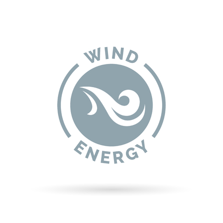 natural energy: Natural wind energy emblem sign with blowing air icon. Vector illustration. Illustration