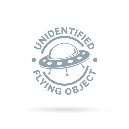 unidentified flying object: UFO icon. Unidentified flying object sign. Flying saucer spaceship symbol. Vector illustration.