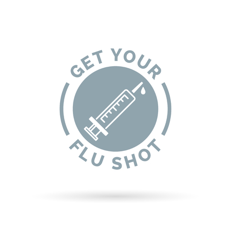 flu vaccine: Get your flu shot vaccine sign with syringe icon. Vector illustration. Illustration