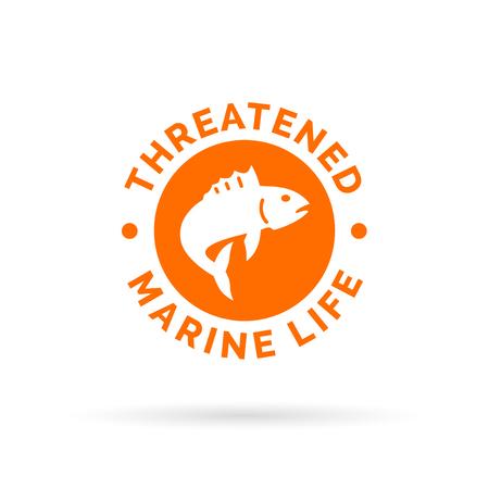 vulnerable: Threatened fish icon. Threatened marine species sign. Over-fishing symbol. Vector illustration.