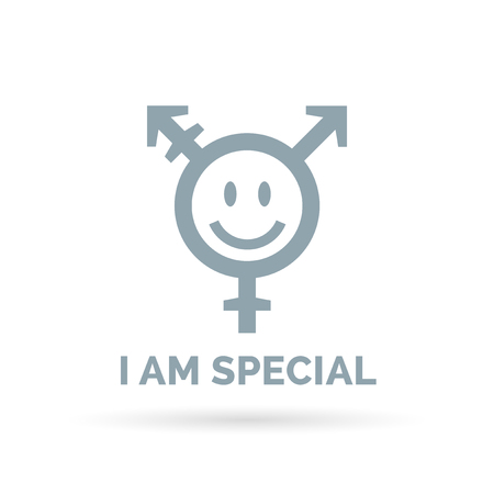 I am special - concept transgender icon with smiling face isolated on white background. Vector illustration.