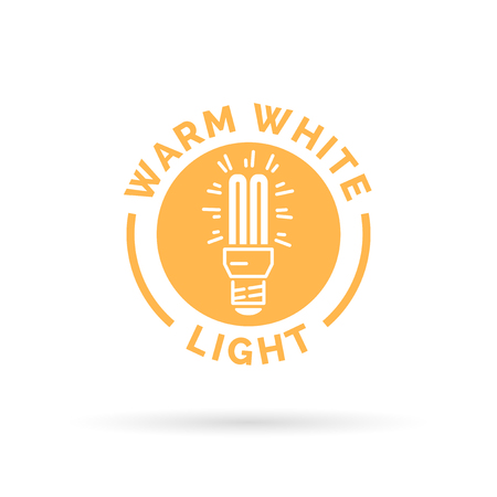 cfl: Warm white fluorescent CFL light symbol. Yellow lightbulb icon. Vector illustration. Illustration