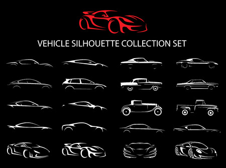Supercar and regular car vehicle silhouette collection set. Vector illustration. Vettoriali