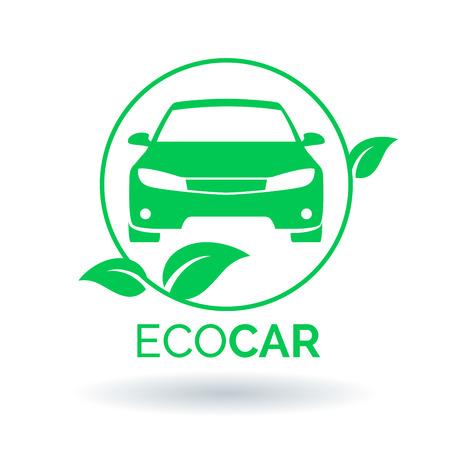 ecological environment: Green eco car icon. Vector illustration