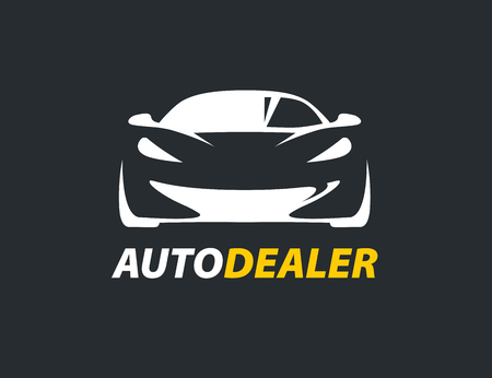 carwash: auto dealer original concept icon with supercar sports vehicle silhouette. Vector illustration. Illustration