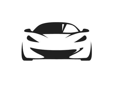 Original concept car with black supercar sports vehicle silhouette on white background. Vector illustration. Иллюстрация