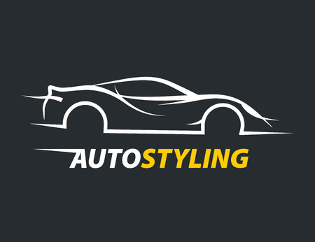 carwash: auto original styling concept car icon with supercar sports vehicle silhouette. Vector illustration.