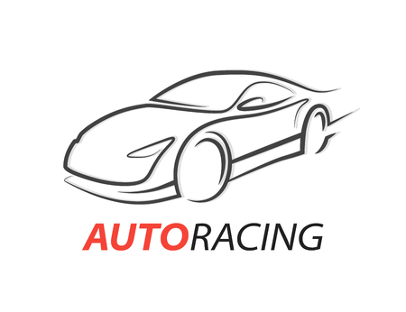 Original concept car racing car icon with gray sports supercar vehicle figure isolated on white background. Vector illustration.