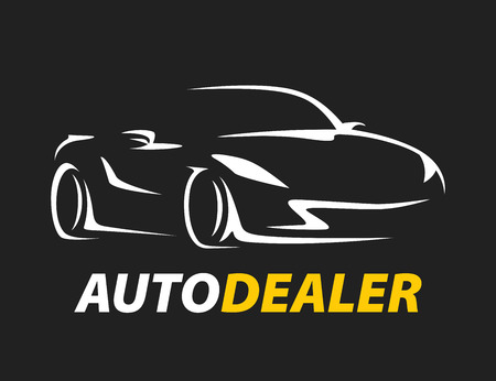 Auto Dealer Original Concept Car Icon With Sports Supercar Vehicle