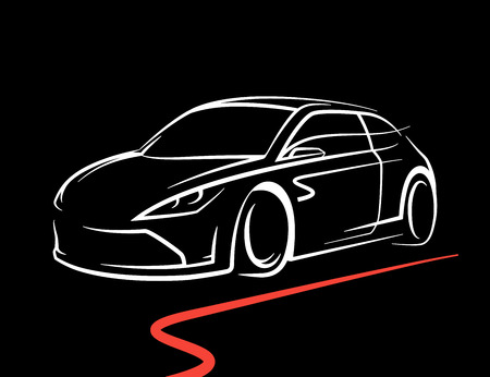 Original concept car drawing with supercar sports vehicle line style silhouette on black background. Vector illustration. Illustration