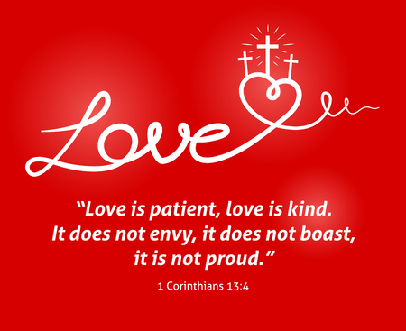 boast: Christian love background with white abstract heart and crosscrucifix on red background design.