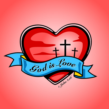 Christian crucifixion cross inside red heart and blue banner with God is Love text. Vector tattoo design. God is love... 1 John 4:16 Illustration