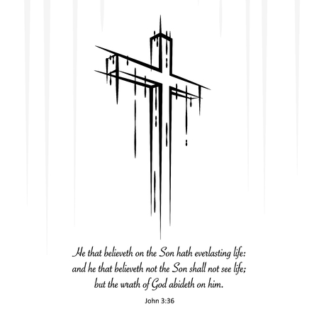 everlasting: Christ Jesus cross crucifix sketch with Christian New Testament Gospel scripture. He that believeth on the Son hath everlasting life... John 3:36.