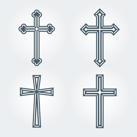 Religious Christian crosses crucifix set design.