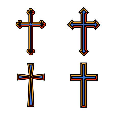 christian crosses: Colorful religious Christian crosses crucifix set design. Illustration