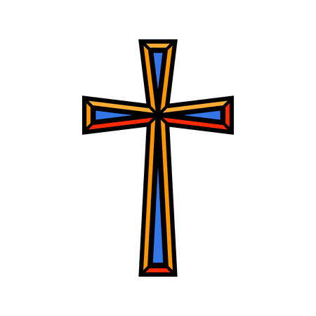 Colorful religious Christian cross crucifix design.
