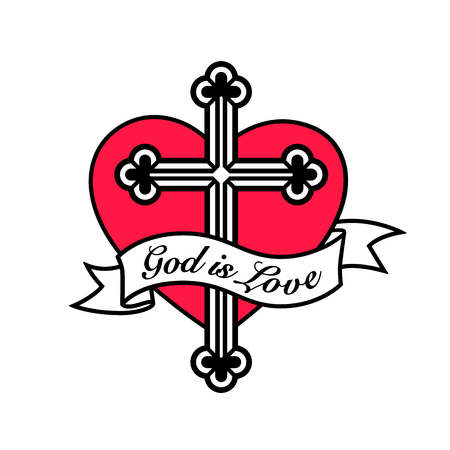 God is liefde - hart met christelijk kruis kruisbeeld en banner ontwerp. Stock Illustratie