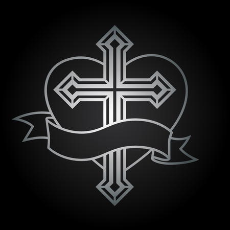 religious symbol: Silver religious Christian cross crucifix with heart and banner icon design on black background.