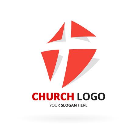 church: Diseño del icono iglesia cristiana con rojo con diseño de símbolo de la cruz aislada en el fondo blanco.