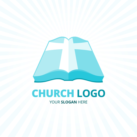 bible light: Christian church icon design with blue bible book and cross symbol isolated on light rays background. Illustration