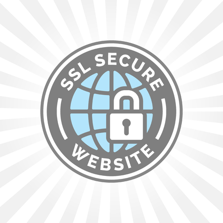 Secure website icon. Global internet web security sign. SSL symbol. Grey and blue globe with padlock emblem.