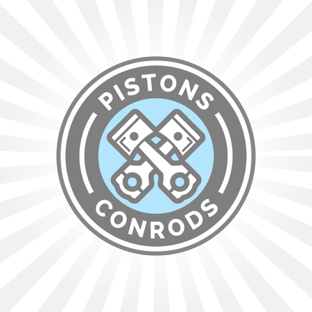 conrod: Pistons and condors icon. Motorcar parts sign. Vehicle service symbol in grey and blue circle emblem.
