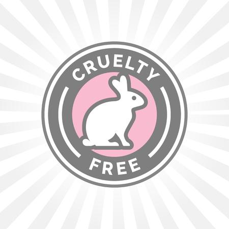 Dierenmishandeling gratis pictogram ontwerp met konijn symbool. Product niet getest op dieren aanmelden met grijs, wit en roze konijn badge. Stock Illustratie