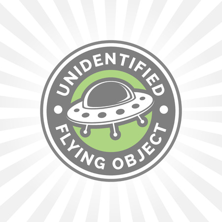 unidentified flying object: UFO icon. Unidentified flying object badge. Flying saucer symbol. Alien spaceship sign.