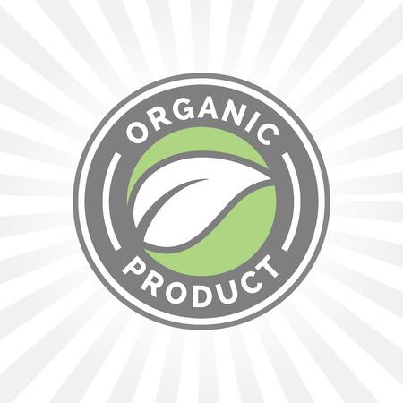 leaf shape: Organic product icon design. Organic product symbol. Organic product badge with leaf shape design.