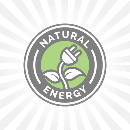 natural energy: Natural eco energy icon symbol with electricity plug, plant and leaf sign. Natural electricity power symbol. Illustration
