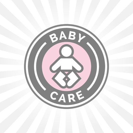 infant: Baby care badge sign with infant baby icon silhouette.
