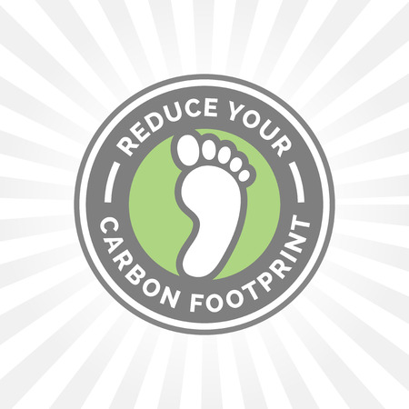 imprint: Reduce your carbon footprint icon with green environment foot imprint badge.