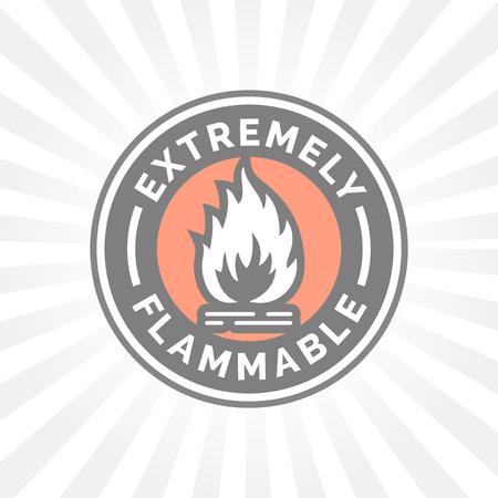 resplandor: icono extremadamente inflamable. señal de peligro de incendio. Precaución símbolo de la llama.