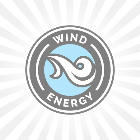 blowing of the wind: Natural wind energy emblem sign with blowing wind icon.