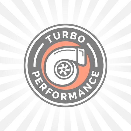 turbo: Turbo performance icon badge with car turbocharger compressor symbol.
