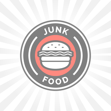 unhealthy: Unhealthy junk food badge with hamburger icon silhouette.