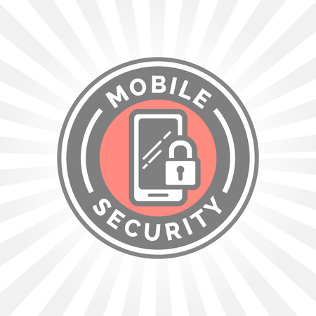 security symbol: Mobile device security icon with padlock and smartphone symbol badge. Illustration
