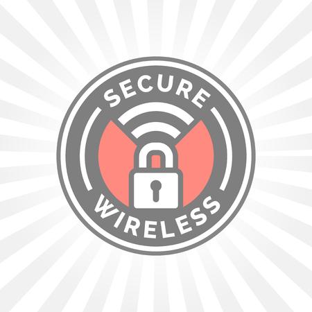 Icône sans fil sécurisée avec cadenas et tampon symbole wifi.