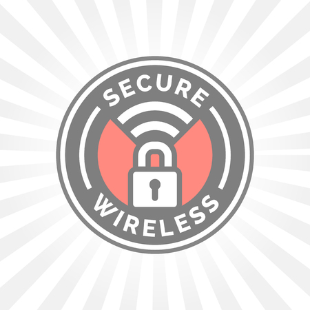 wifi sign: Secure wireless icon with padlock and wifi symbol stamp. Illustration