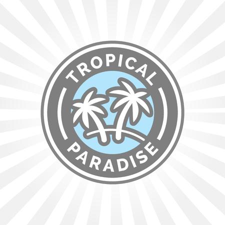 island paradise: Tropical holiday paradise icon with palm trees symbol badge.