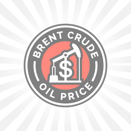 Brent ruwe olieprijs icoon met dollar symbool badge. Benzine prijskaartje.