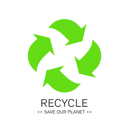 recycle icon: Abstract green environment recycle icon eco concept sign. Illustration.