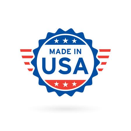 Hecho en el diseño de la insignia del concepto del icono de los EEUU con los elementos azules y rojos del emblema de la bandera americana. Ilustración del vector.