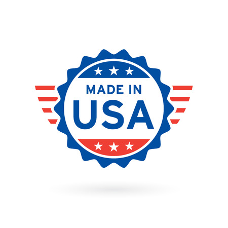 Made in USA icon concept badge design with blue and red American flag emblem elements. Vector illustration. Иллюстрация