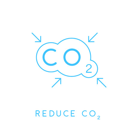 emissions: Reduce carbon CO2 emissions concept icon with blue linear cloud with inward pointing arrows symbol. Vector illustration.
