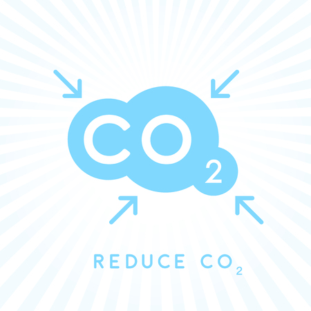 emissions: Reduce carbon CO2 emissions concept icon with blue cloud with inward pointing arrows symbol. Vector illustration. Illustration