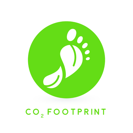 Reduce carbon CO2 footprint concept with green foot print leaves circle icon. Vector illustration. Illusztráció