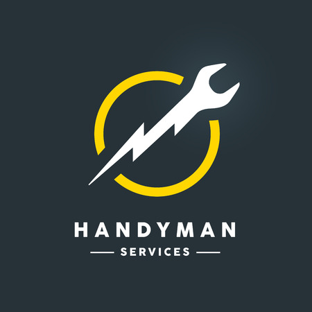 Concept handyman services icon with white abstract spanner flash tool in yellow circle icon on dark cool grey background. Vector illustration.