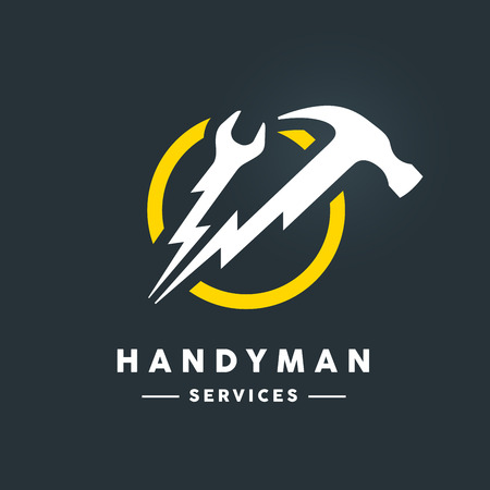 Concept handyman services icon with white abstract spanner and hammer flash tools in yellow circle icon on dark cool grey background. Vector illustration. Ilustração