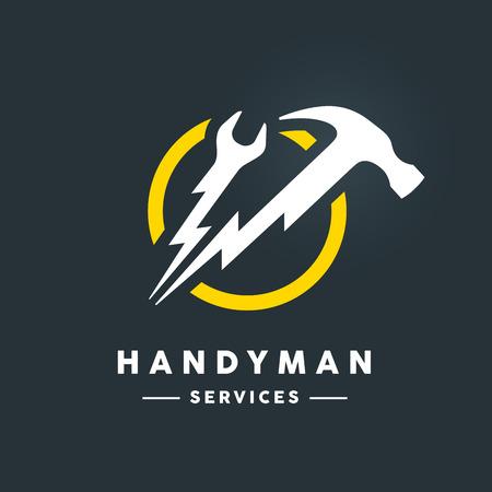 Concept handyman services pictogram met witte abstracte spanner en hammer flash tools in geel cirkel pictogram op donkere koele grijze achtergrond. Vector illustratie.
